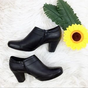 Clarks black leather strap buckle heeled boots
